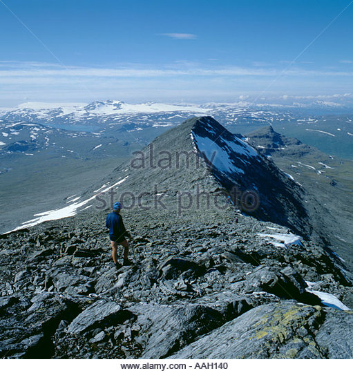 Sulitjelma mountains on Norwegian Swedish border, from ridge of Jeknaffo, Padjelanta National Park, Norrbottens - Stock Image
