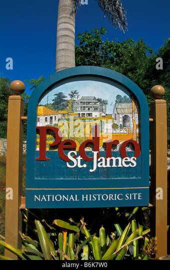 Grand Cayman Pedro St James National Historic Site sign the castle - Stock Image