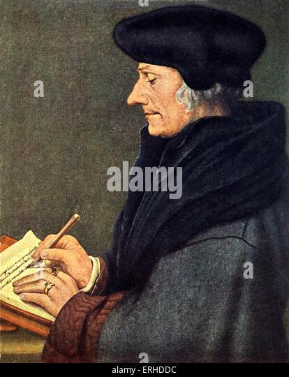 Erasmus von Rotterdam, painting by Hans Holbein. Dutch philosopher, 1459?-1536. - Stock-Bilder