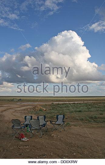 Kazakstan Ustyurt Plateau landscape chairs - Stock Image