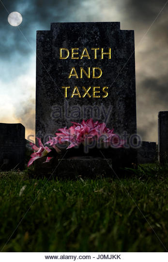 Death And Taxes written on a headstone, composite image, Dorset England. - Stock Image