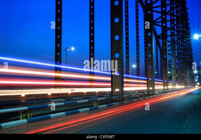 light trails on the steel bridge - Stock Image
