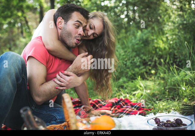 Couple on a picnik - Stock Image