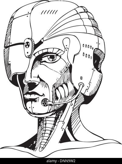 Head of cyborg woman. Black and white vector illustration. - Stock-Bilder