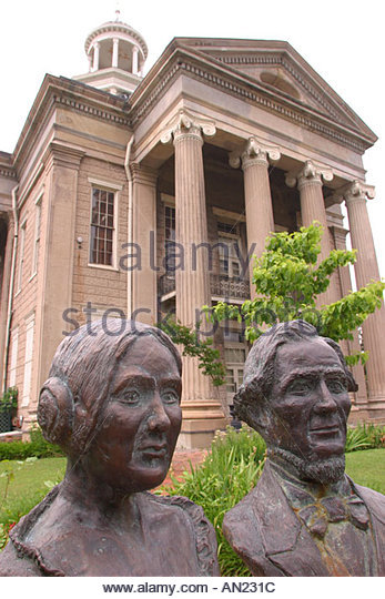 Mississippi Vicksburg The Old Court House Museum Jefferson Davis and wife busts - Stock Image