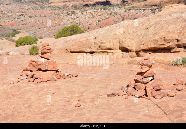 Cairns, Arches National Park, Utah, USA - Stock Image