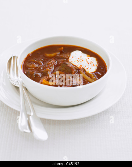 Bowl of goulash soup, close-up - Stock Image