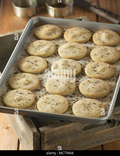 Goosnargh cakes. Shortbread biscuits Lancashire. Food UK - Stock Image