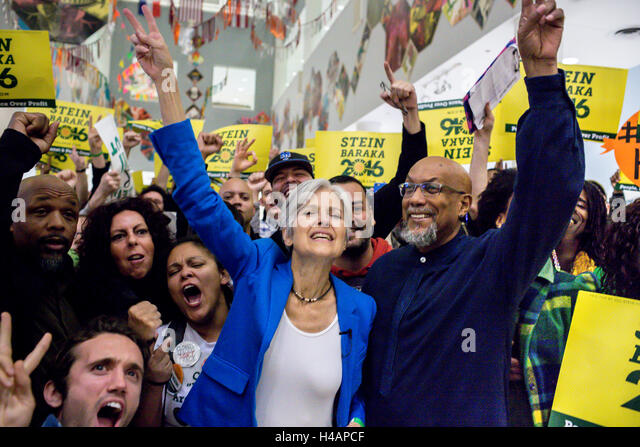 San Fransisco, United States. 12th Oct, 2016. The Green Party ticket, Jill Stein and her running mate Ajamu Baraka - Stock-Bilder