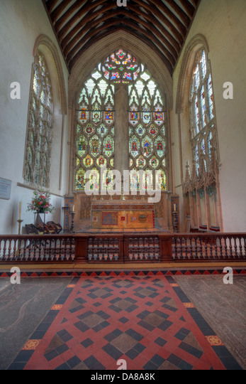 Main Altar from chapel of St Peter & St Paul, parish church, Dorchester on Thames, England, UK - Stock Image