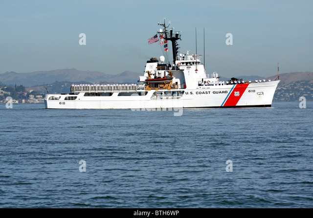 The United States Coast Guard Cutter Active (WMEC-618) travels across San Francisco Bay - Stock Image
