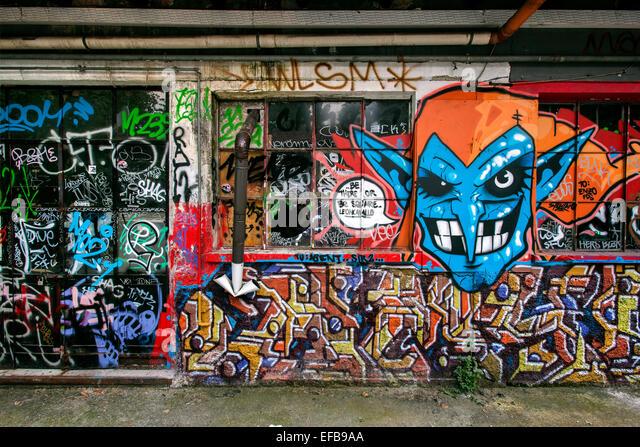 Milan, social center Leoncavallo, murals, Italy - Stock Image