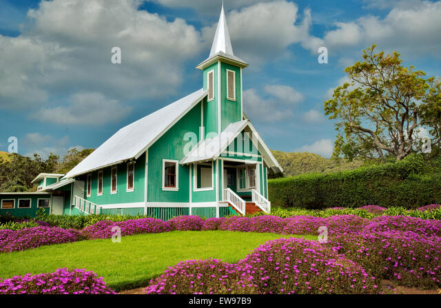 Keola Mauloa Church. Waimea, Hawaii, The Big Island - Stock Image