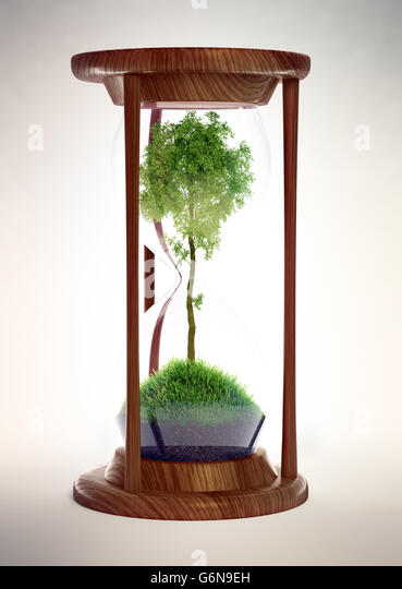 Hourglass with a tree inside - ecology concept 3D illustration - Stock-Bilder