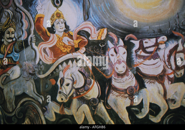Folk art depicting Krishna in a chariot from the Bhagavad Gita - Stock Image