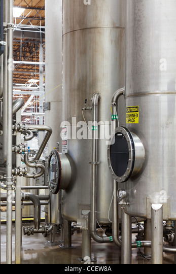 Silos in bottle industry - Stock Image