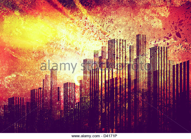 grunge skyline - Stock Image
