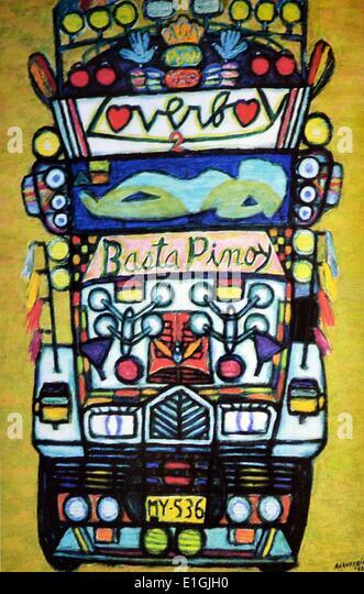 Antonio Austria, Jeepney, 1992, Oil on canvas - Stock Image