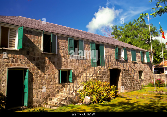 Nevis Alexander Hamilton house; Birthplace; Charlestown; Island of Nevis; St. Kitts and Nevis; Caribbean island; - Stock Image