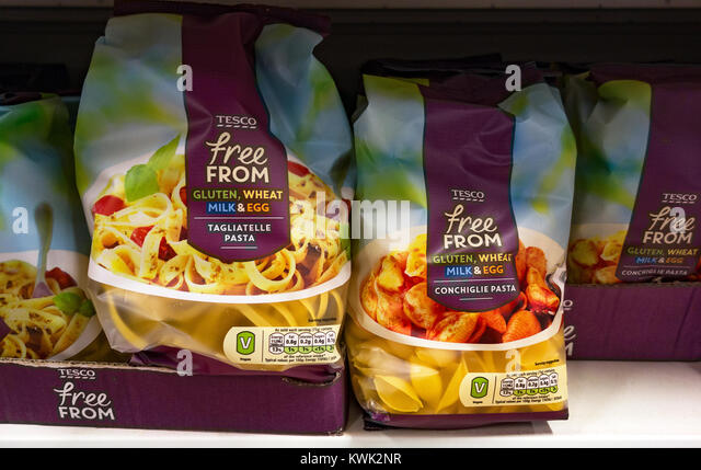 free from tesco, gluten, wheat, milk, & egg free food product - Stock Image