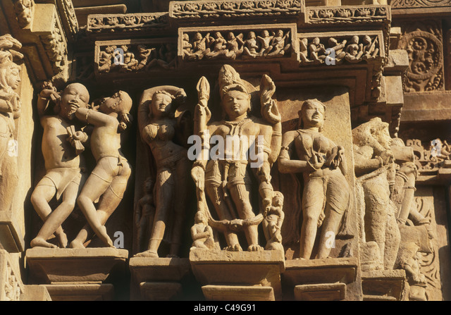 Photograph of the artistic decoration of an Indian Palace in Khajuraho - Stock-Bilder