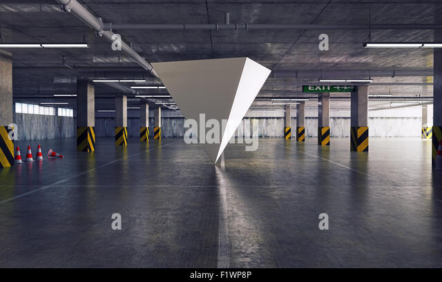 geometric figure pyramid in the parking. 3d creative concept - Stock-Bilder