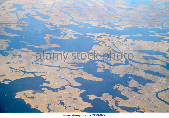 Louisiana New Orleans Mississippi River Delta Halfmoon Pass Bay aerial American Airlines Miami to New Orleans flight - Stock Image