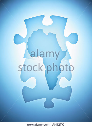 Symbolic puzzle pieces combined with map of Africa - Stock-Bilder