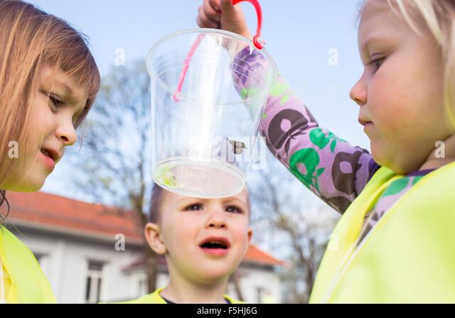 Sweden, Vastergotland, Olofstorp, Bergum, Kindergarten children (2-3, 4-5) learning outdoors - Stock Image