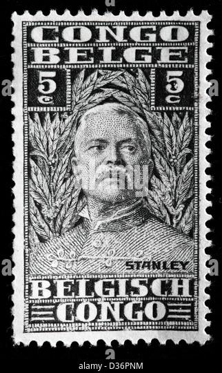 Sir Henry Morton Stanley, postage stamp, Belgian Congo, 1928 - Stock-Bilder