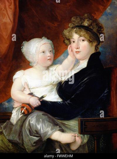 West, Benjamin - Mrs Benjamin West II with her son Benjamin West III - Stock Image