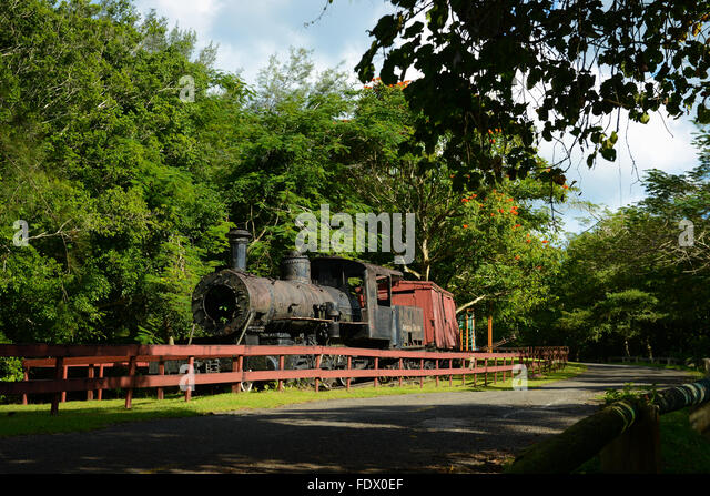 Old American Railroad locomotive outside the Camuy Cave Park. PUERTO RICO - Caribbean Island. US territory. - Stock Image