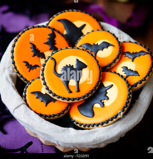 Basket of Halloween cookies - Stock Image