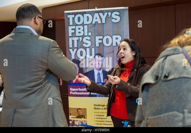 Dearborn, Michigan - The FBI recruits at a job fair sponsored by ACCESS, the Arab Community Center for Economic - Stock Image