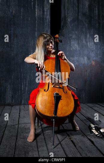 Beautiful cello musician - Stock Image