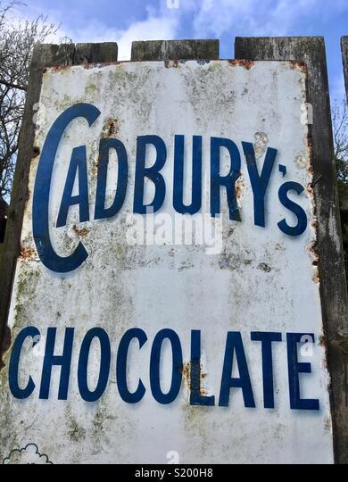 Cadbury's Chocolate, historic sign and advertisement - Stock Image
