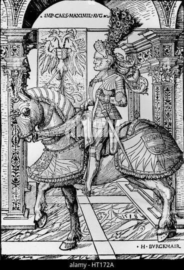 'Portrait of the Emperor Maximilian', 1518. Artist: Hans Burgkmair, the Elder. - Stock Image