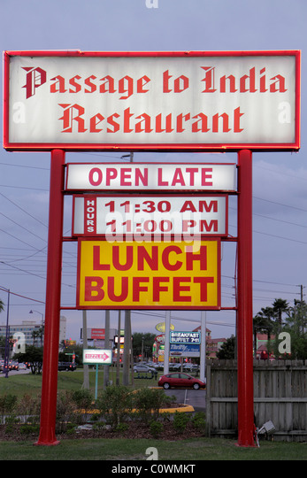 Florida Kissimmee Passage to India Restaurant sign lunch buffet - Stock Image