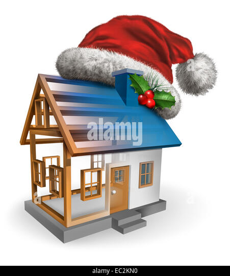Winter holiday construction symbol as a christmas santa claus hat with holly on a house that is in the building - Stock Image