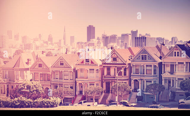 Retro vintage filtered photo of San Francisco skyline, old film style, USA. - Stock-Bilder