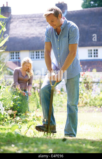 Couple Working In Garden At Home Together - Stock Image