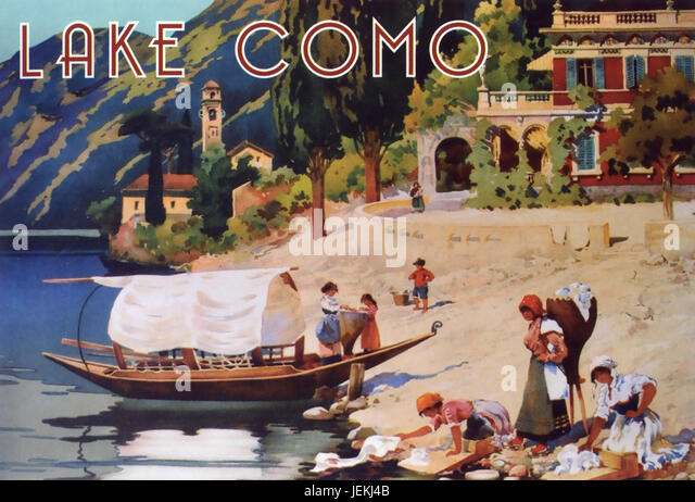 LAKE COMO, Italy. Promotional poster about  1905 showing a Lucia boat - Stock-Bilder