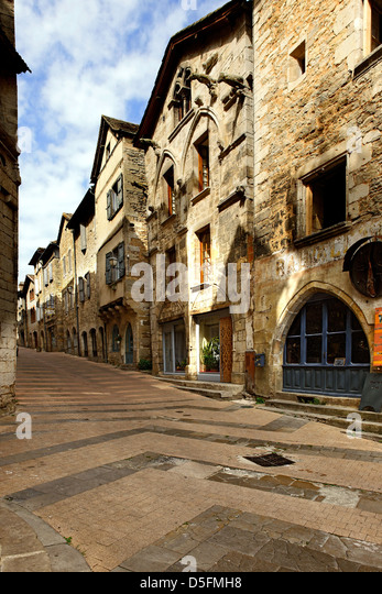 Paved street in St Antonin Noble Val, Tarn et Garonne, France - Stock Image