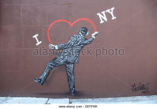 Street Art, Banksy Tribute, Lower East Side, Manhattan, New York City, USA - Stock Image