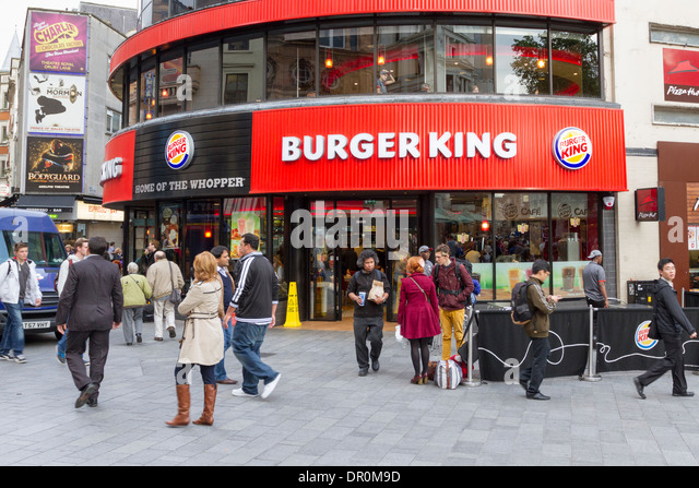 Burger King fast food outlet, Leicester Square, England, UK - Stock Image