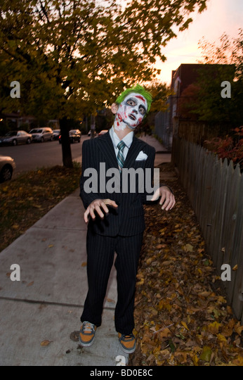 Young boy posing as a zombie, Toronto, Ontario - Stock Image