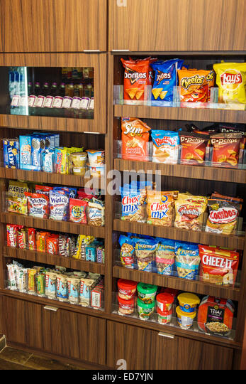 Illinois Chicago River North downtown Fairfield Inn & and Suites lobby convenience store snacks junk food candy - Stock Image