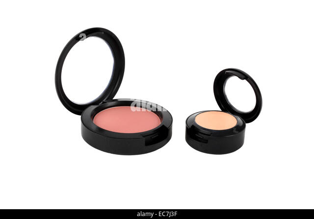 makeup powder on white background - Stock Image