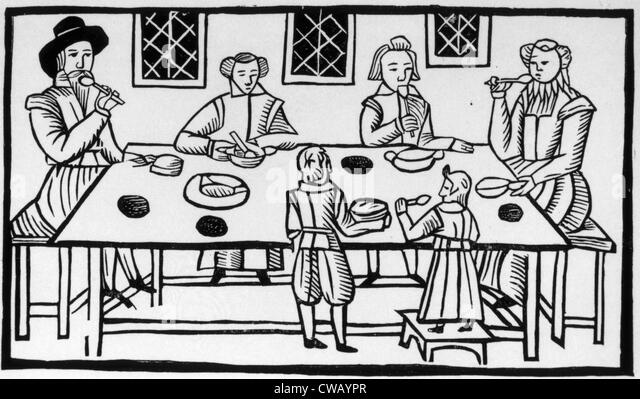 Puritan family meal, 17th century woodcut. - Stock Image
