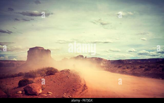 Vintage toned sandstorm over Monument Valley, Utah, USA. - Stock Image